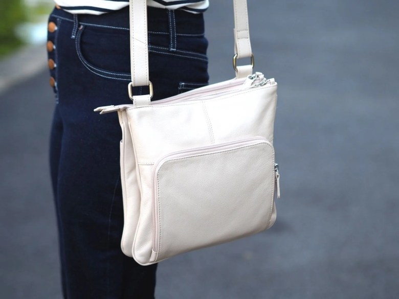 cream leather crossbody bag