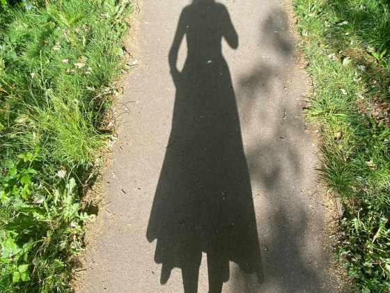 shadow of woman walking in a park