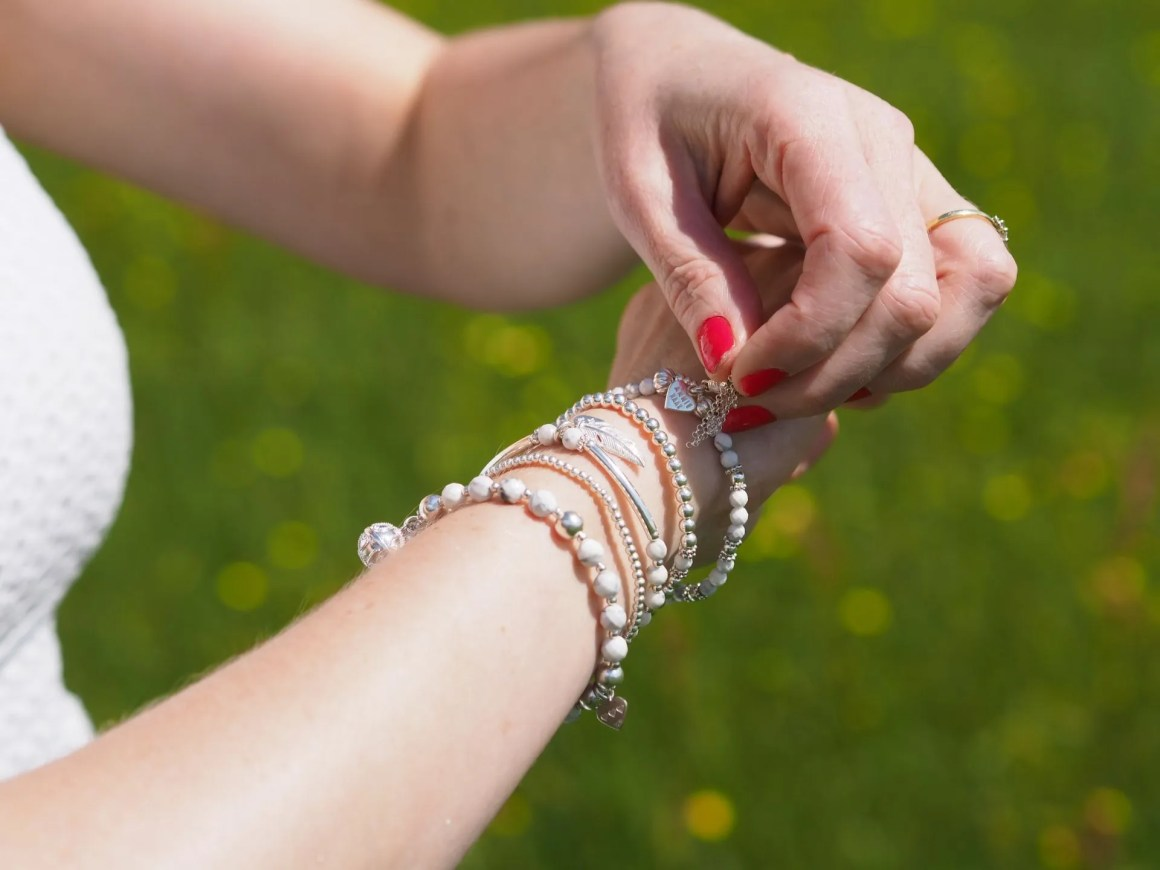 silver and howlite stacking bracelets