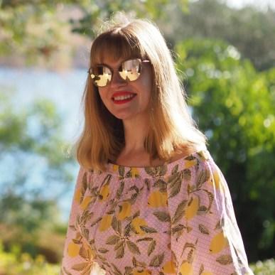 Caron rose gold mirrored sunglasses