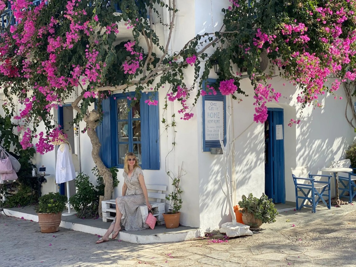 white shop with pink bougainvillea in Mochlos, Crete