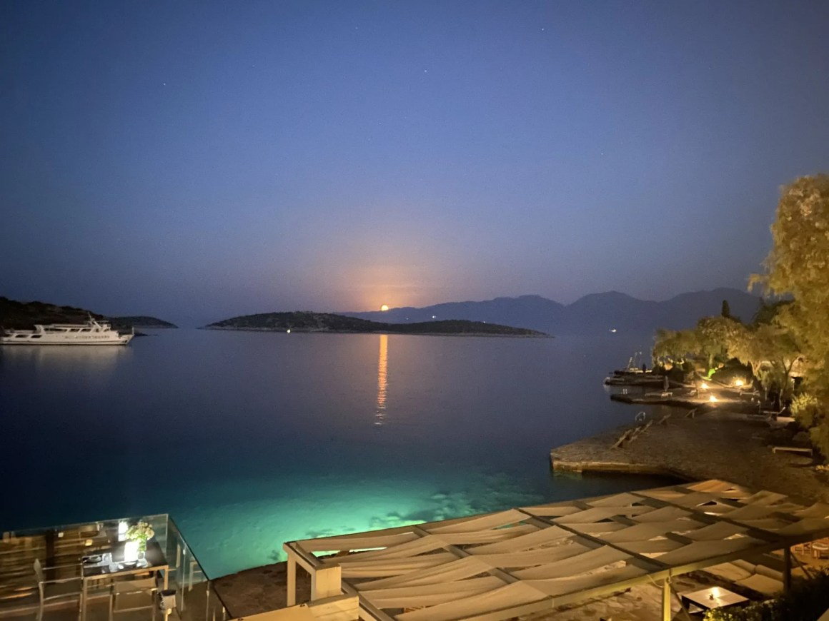 View from Terpsis restaurant, Minos Beach Art Hotel, Crete