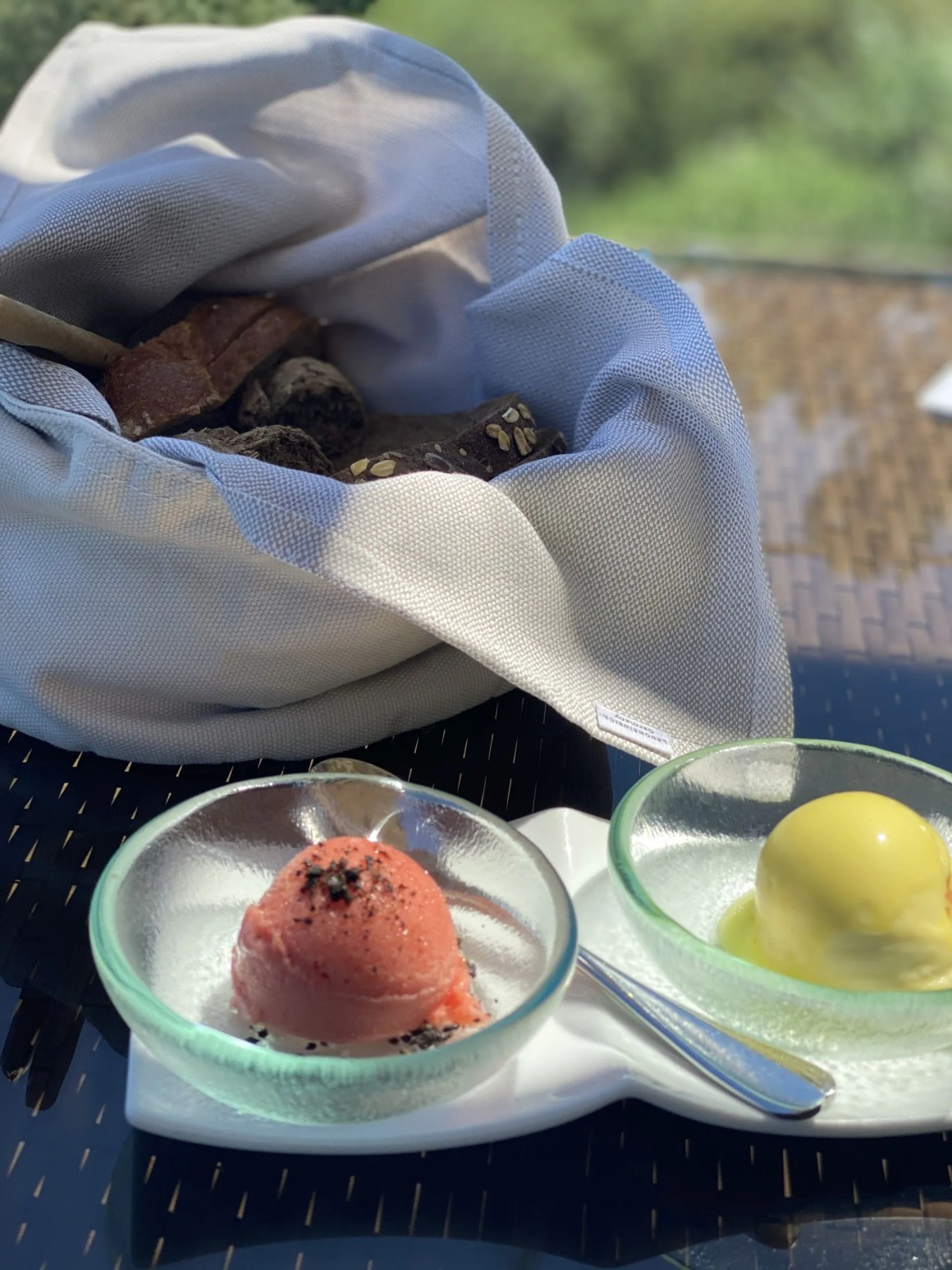 olive oil sorbet at Terpsis restaurant, Minos Beach Art Hotel, Crete