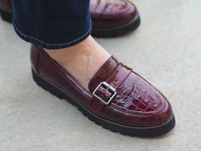 burgundy patent mock-croc loafers