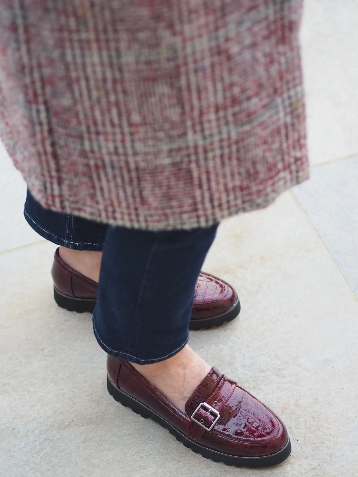 mock-croc loafers outfit