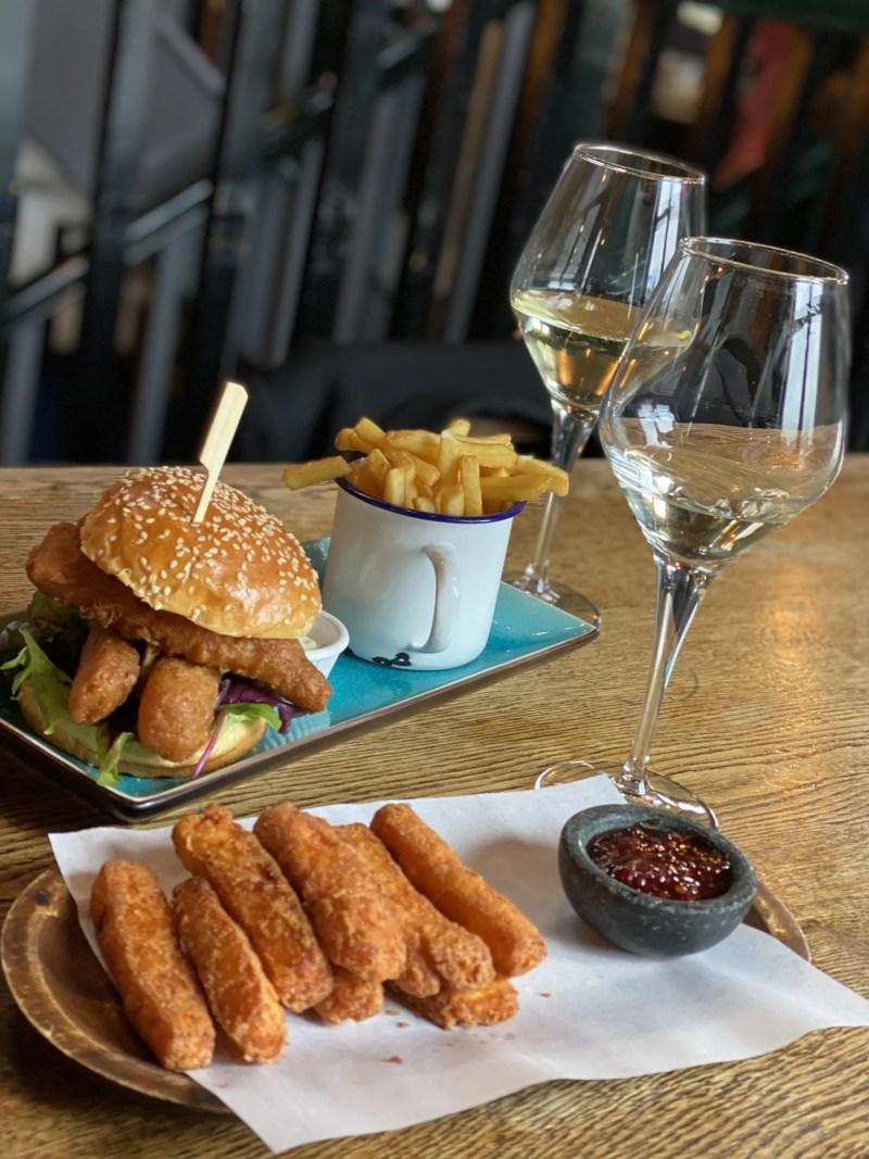 deep fried halloumi and posh fish finger sandwich