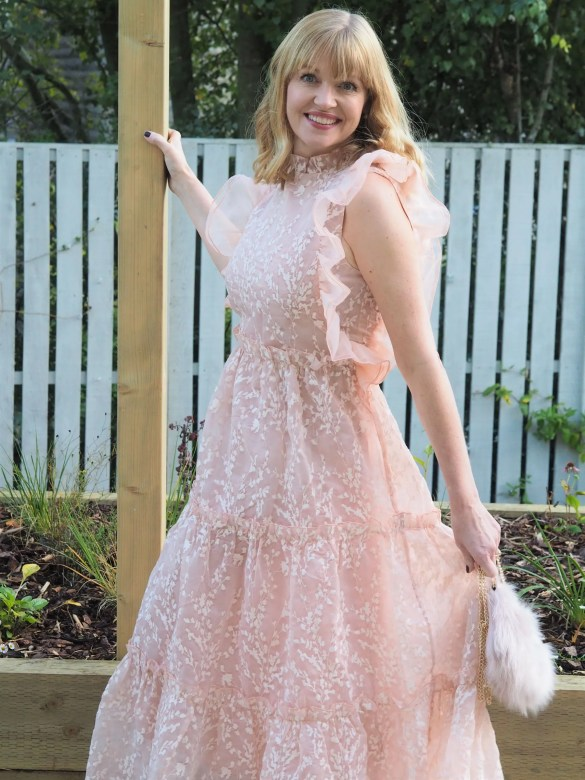 coast blush organza maxi dress