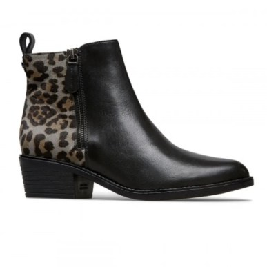 black leather and animal leopard print detail ankle boot