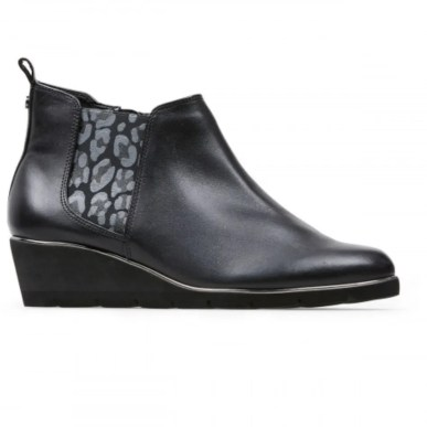black leather and grey leopard pring wedge leather ankle boot