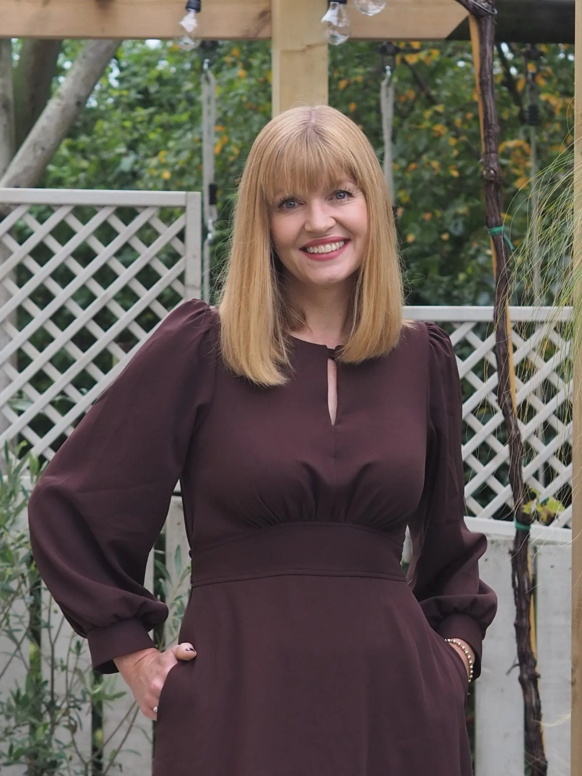 brown puff sleeve midi dress my birthday