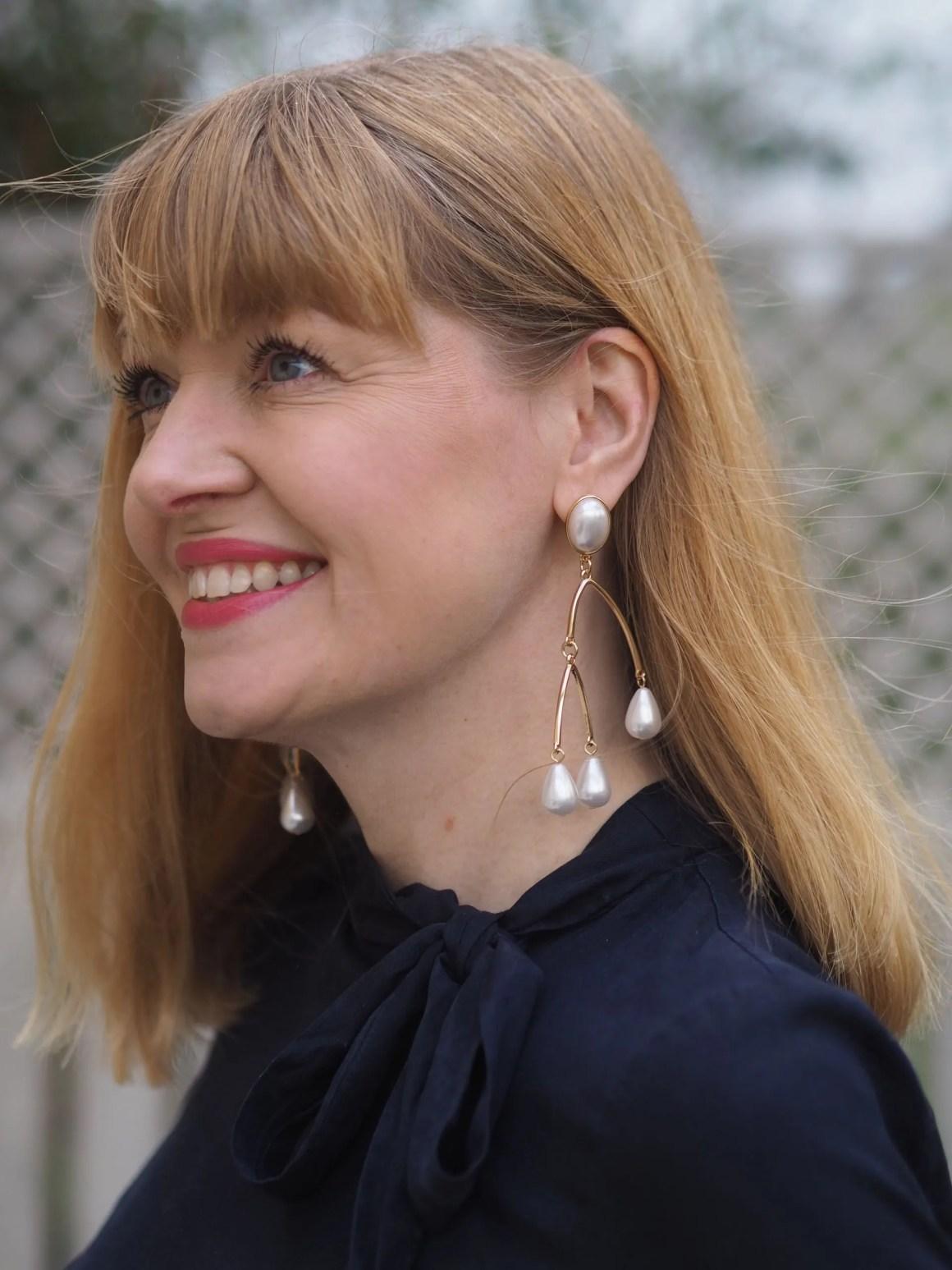 statement faux pearl earrings