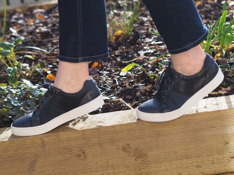 navy leather trainers with contrasting textures