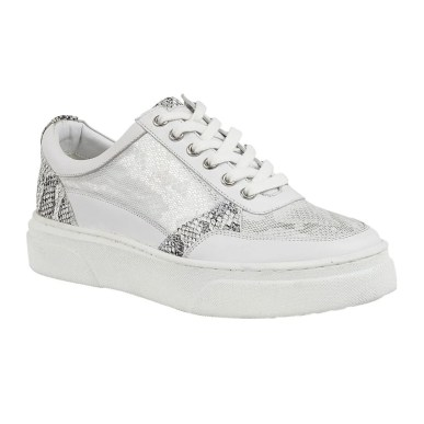 white and silver leather trainers