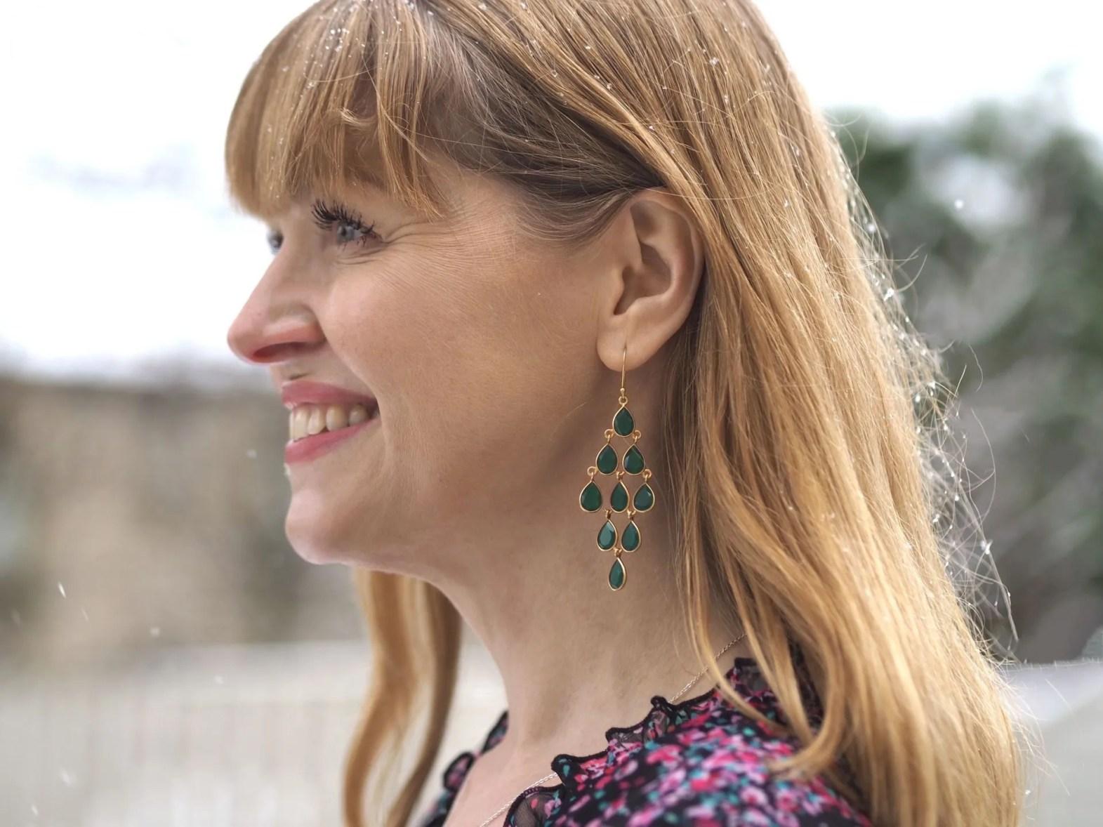 green onyx chandelier earrings