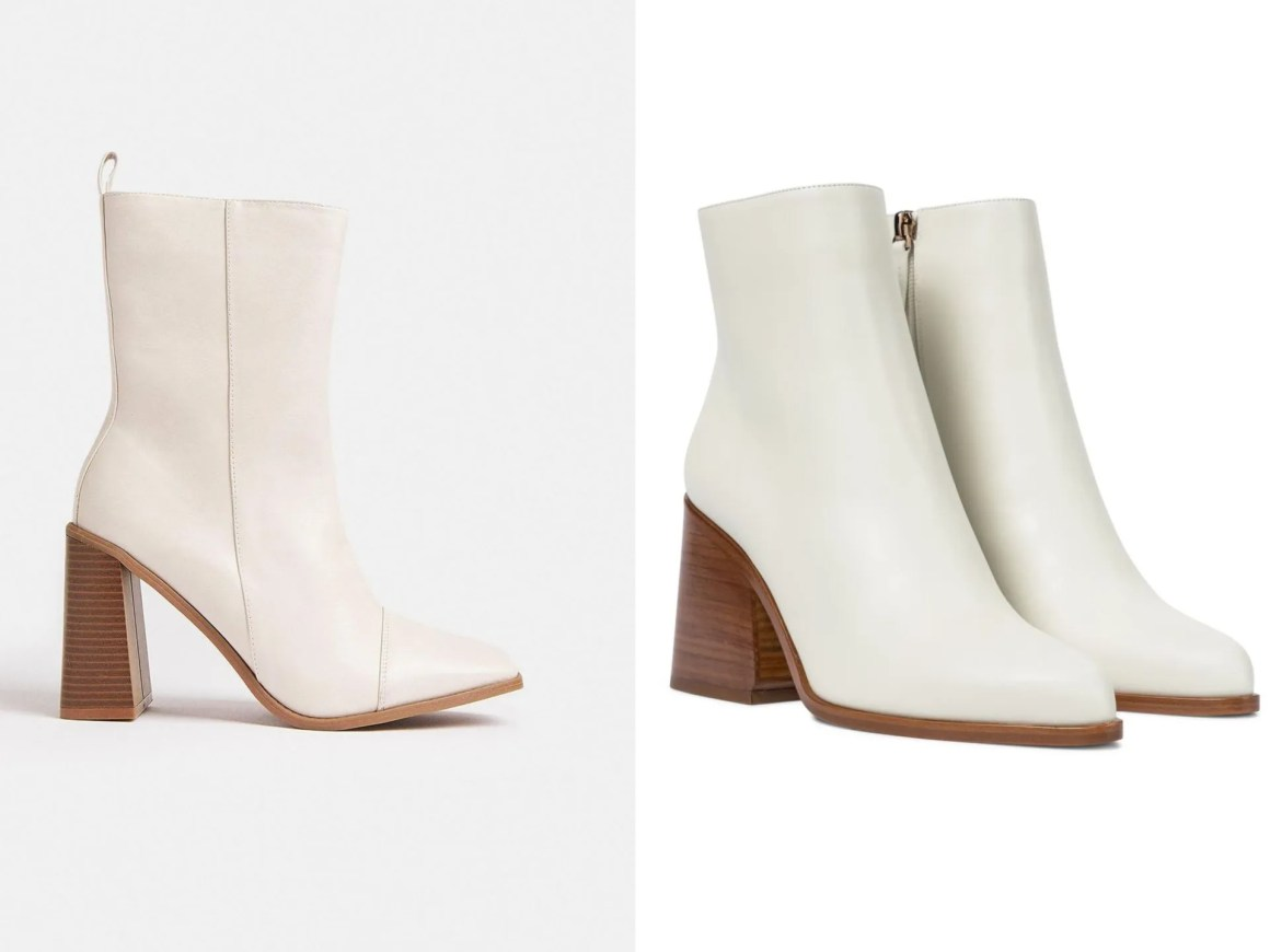 ivory ankle boots with wooden heel