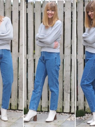 Mom jeans, grey sweater and ivory chunky heeled boots