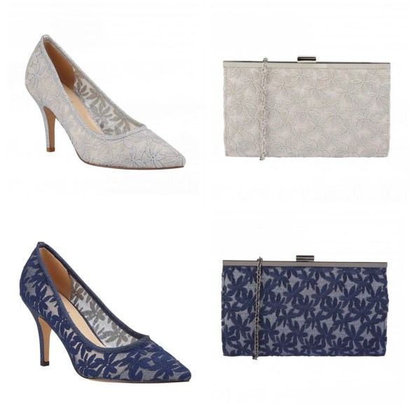 ivory lace court shoes with matching clutch bag