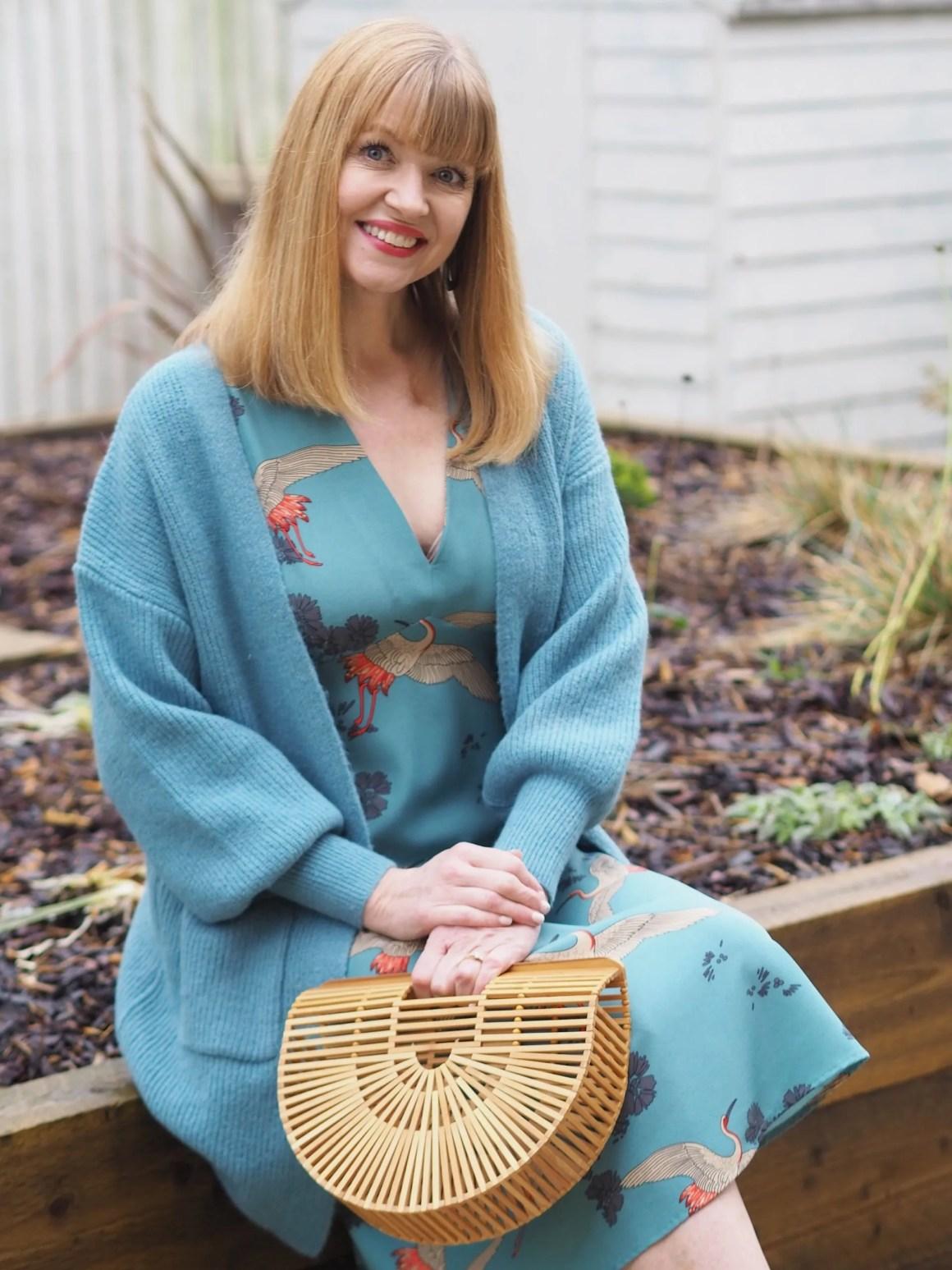 longline aqua knitted cardigan
