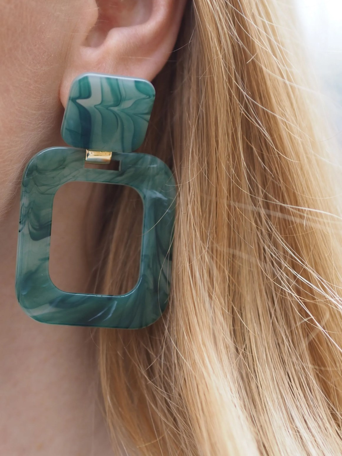 marble effect large square resin earrings