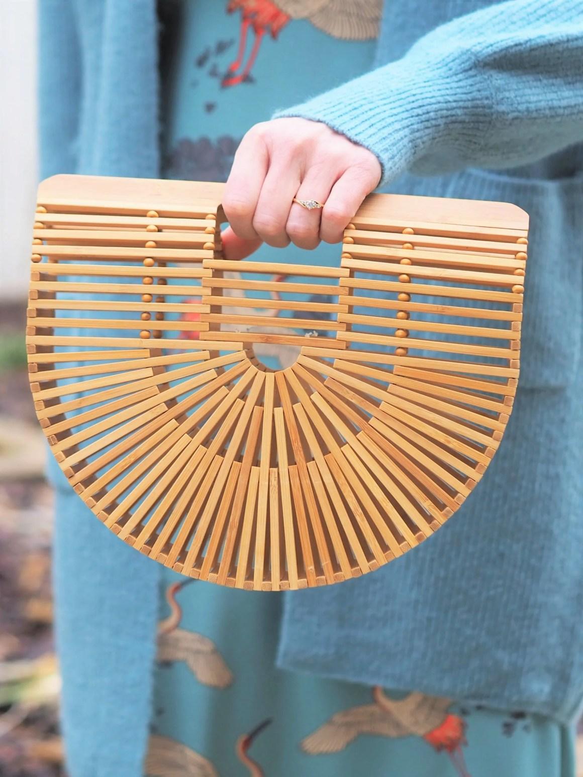 wooden semi circular handbag