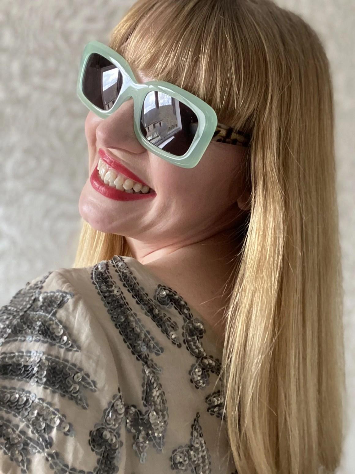light green square sunglasses