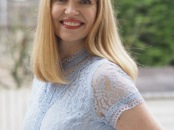 lace bodice pleated dress