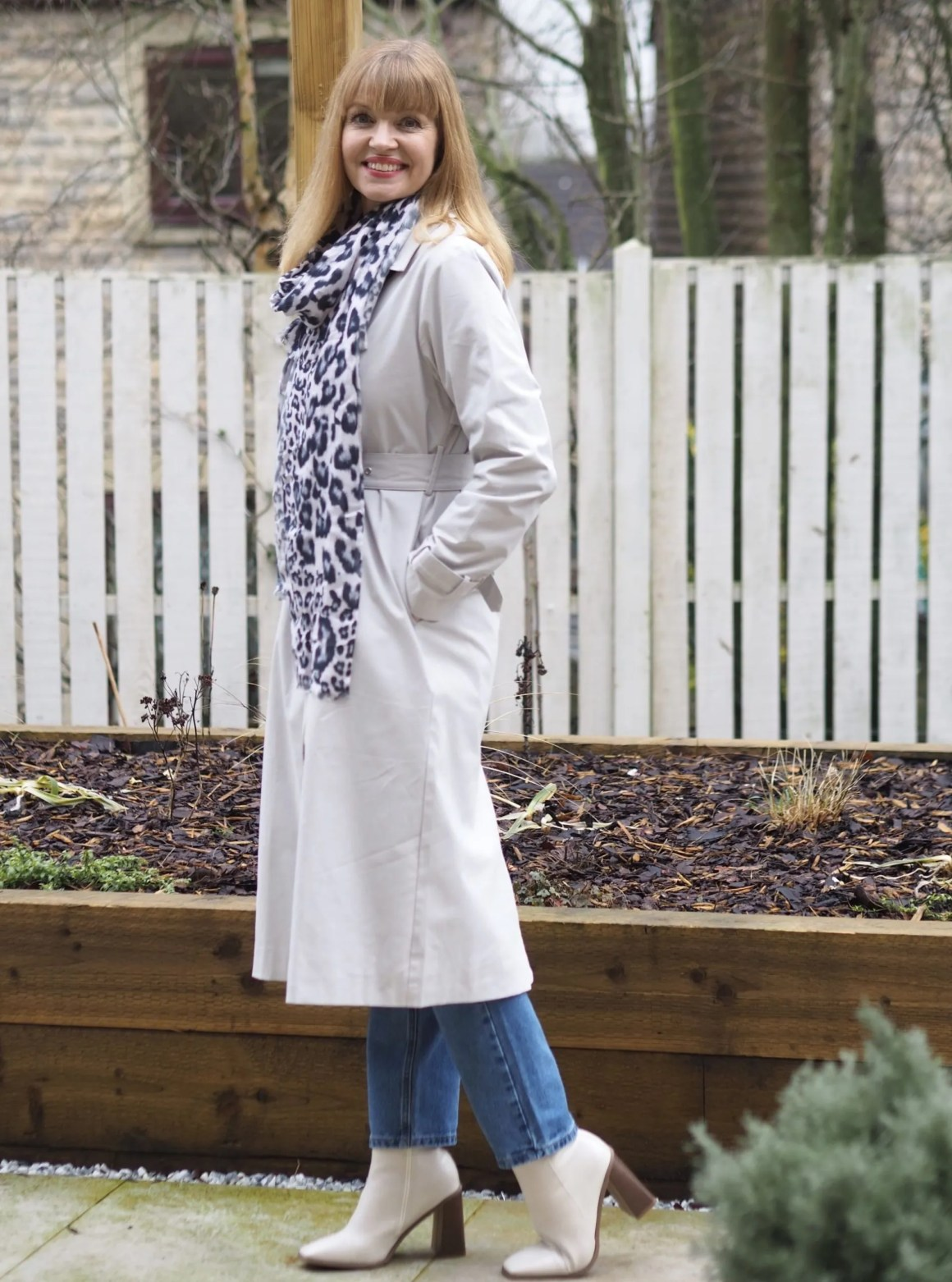 trench coat and leopard print scarf