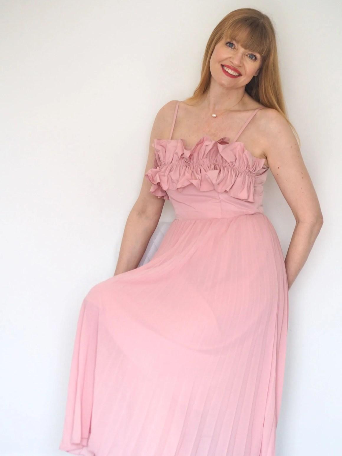 pink ruffle bodice pleated dress