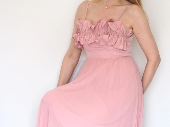 pink ruffle bodice pleated dress
