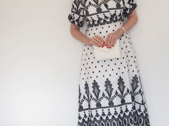 white and black broderie wrap midi dress