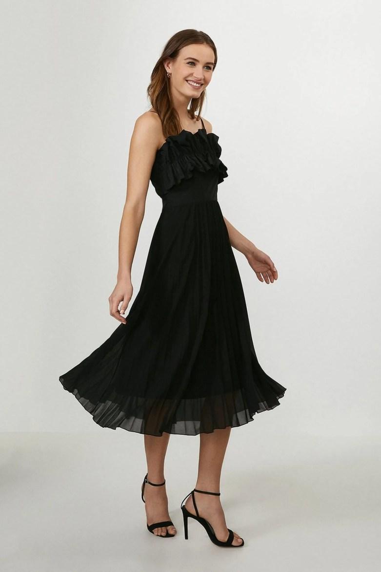 ruffle bodice black dress