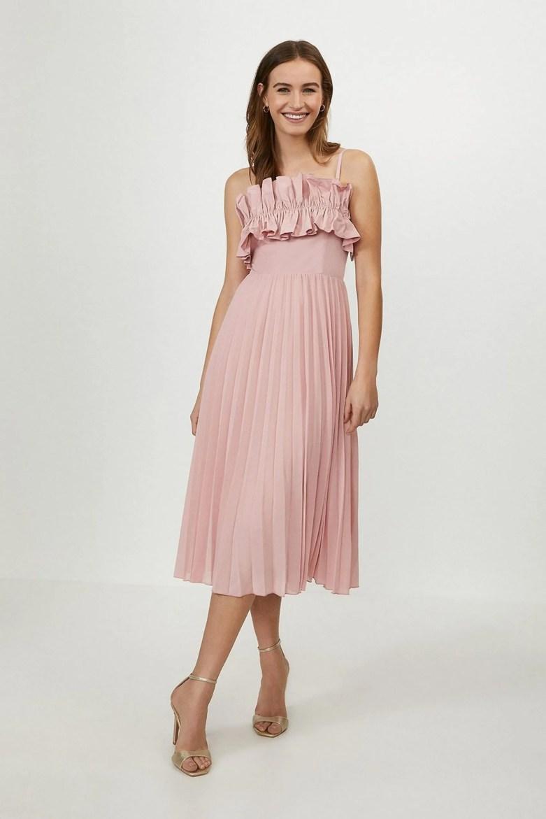 ruffle bodice pink dress