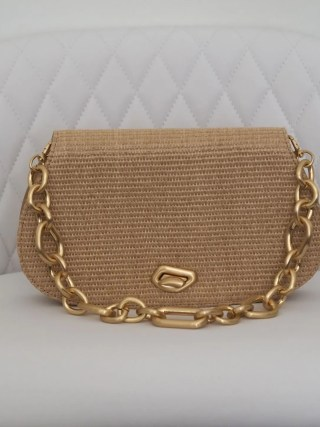 cult gaia alba shoulder bag with matte gold chain handle