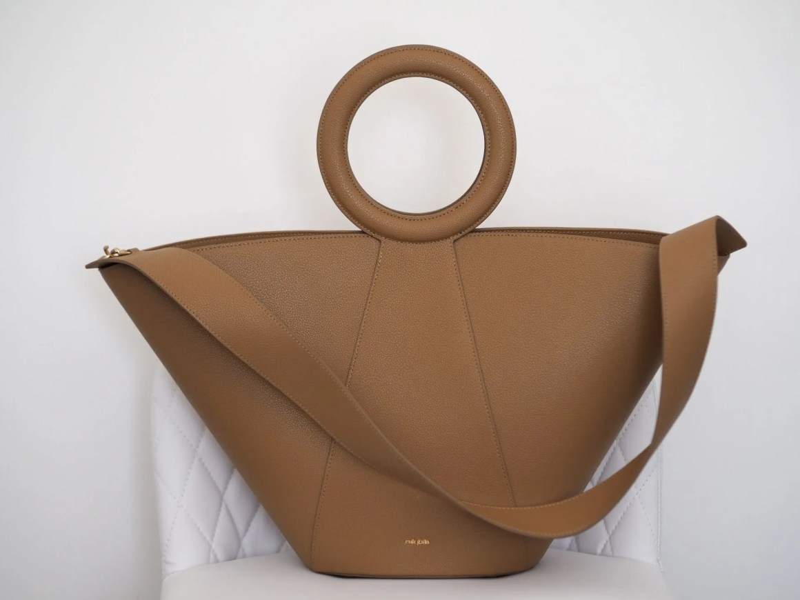 Cult Gaia Roksana tan camel leather tote bag with round handles