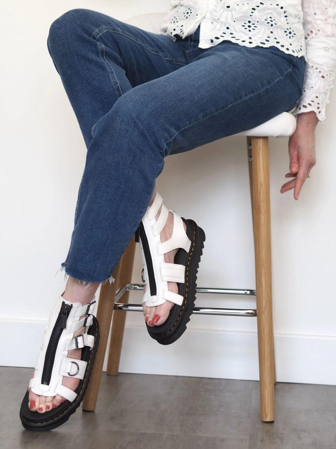 white dr marten sandals