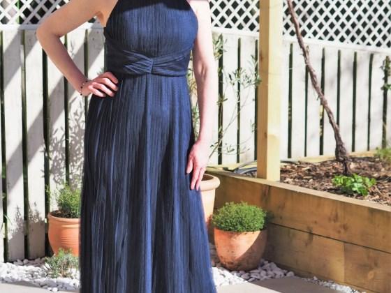 navy pleated maxi dress