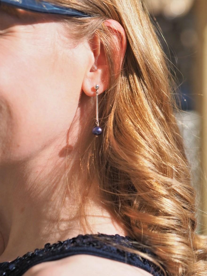 navy pearl drop earring