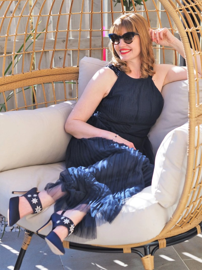 navy pleated maxi dress with Boden Natalia navy slingback shoes with embellished stars