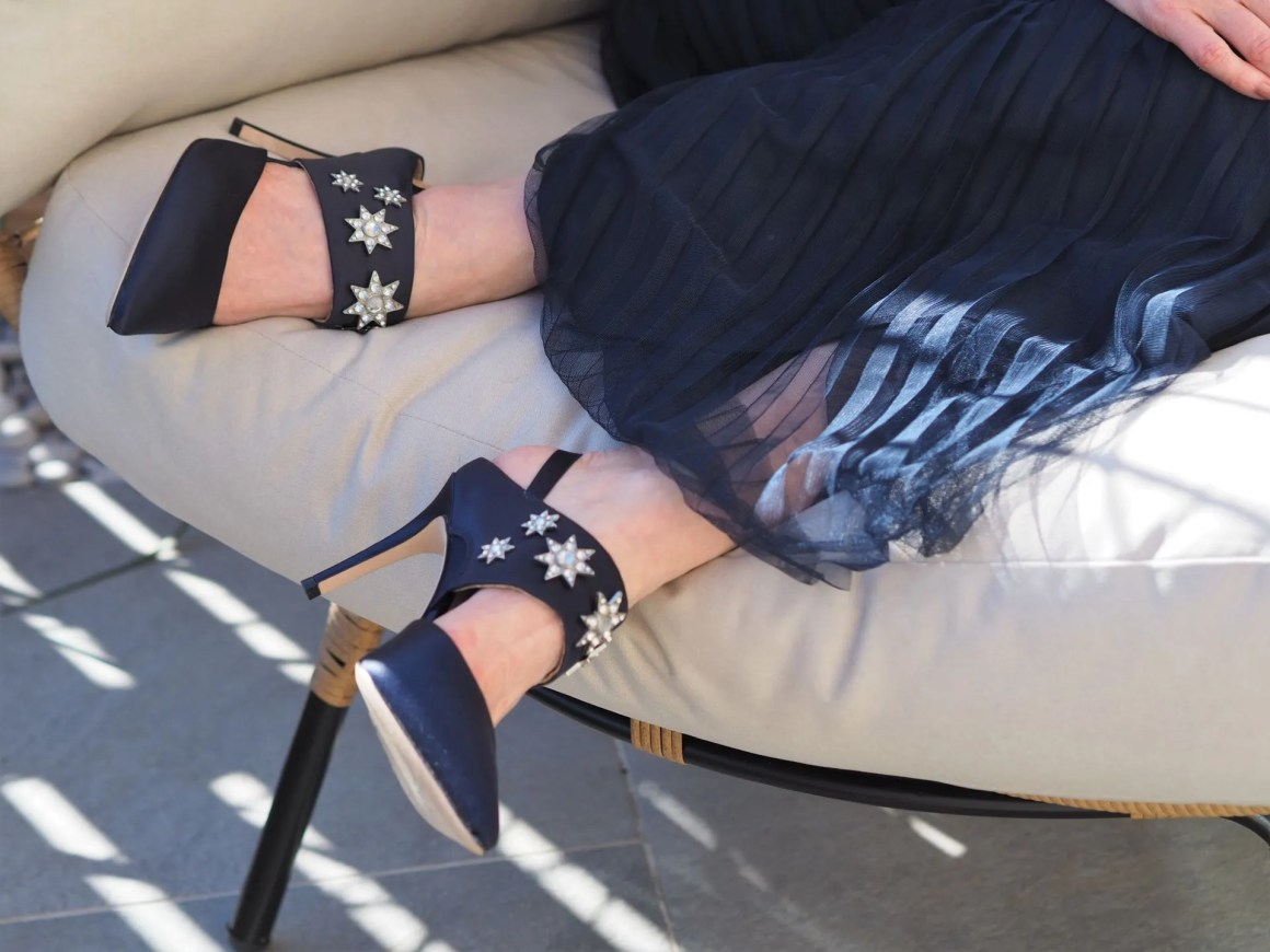 Boden natalia navy satin star shoes