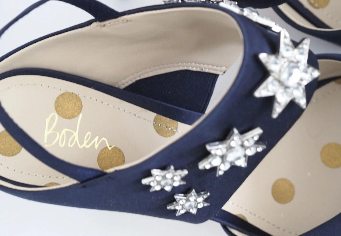 Boden Natalia navy star embellished slingbacks