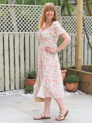Orange Provençal Print Floral Dress
