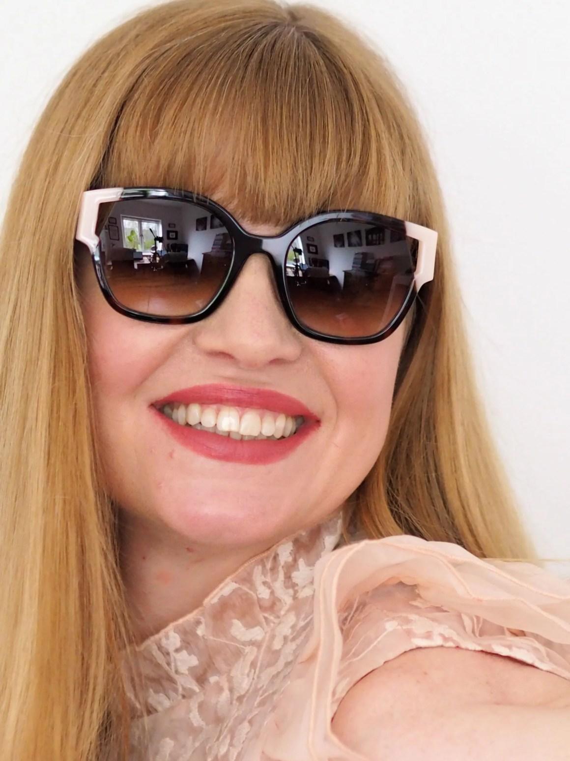 tortoiseshell and pink acetate sunglasses