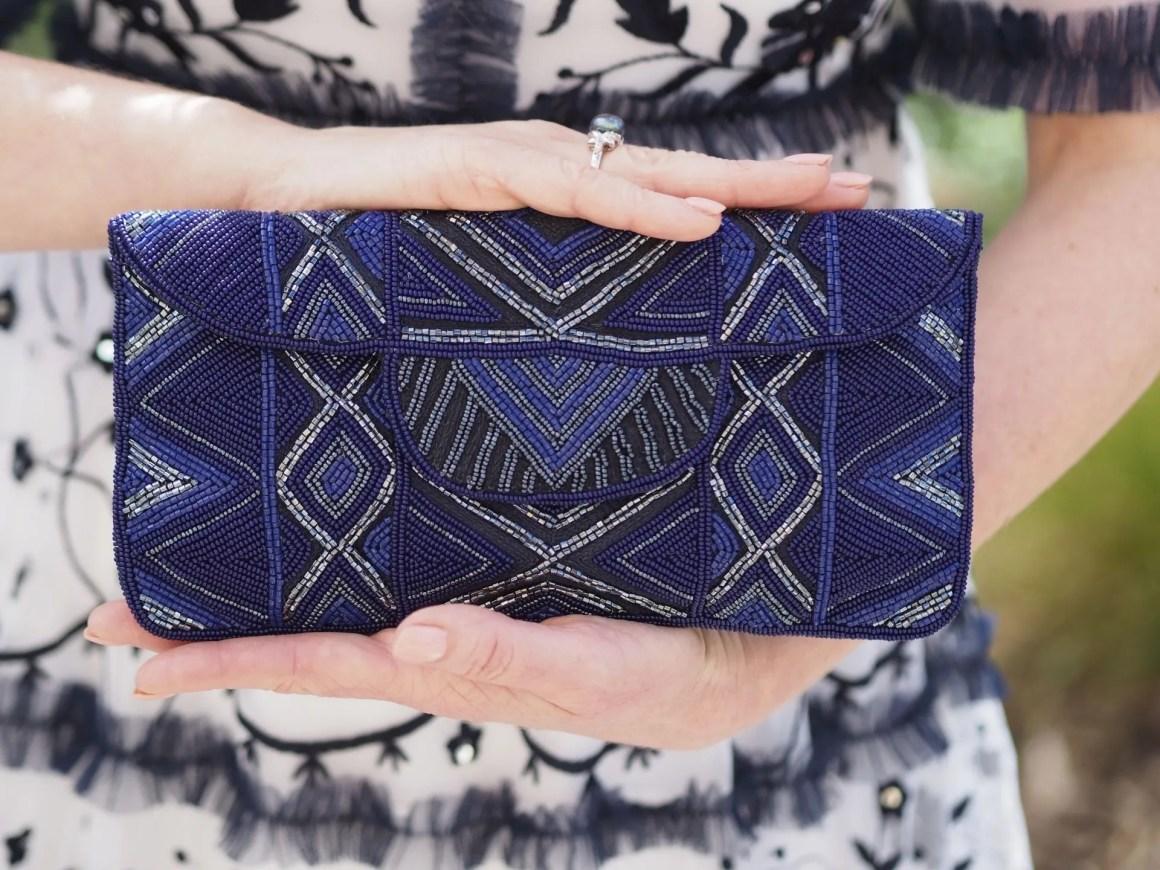 blue beaded fair trade clutch bag