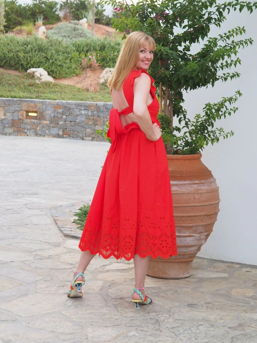 self portrait red broderie maxi dress with tie back