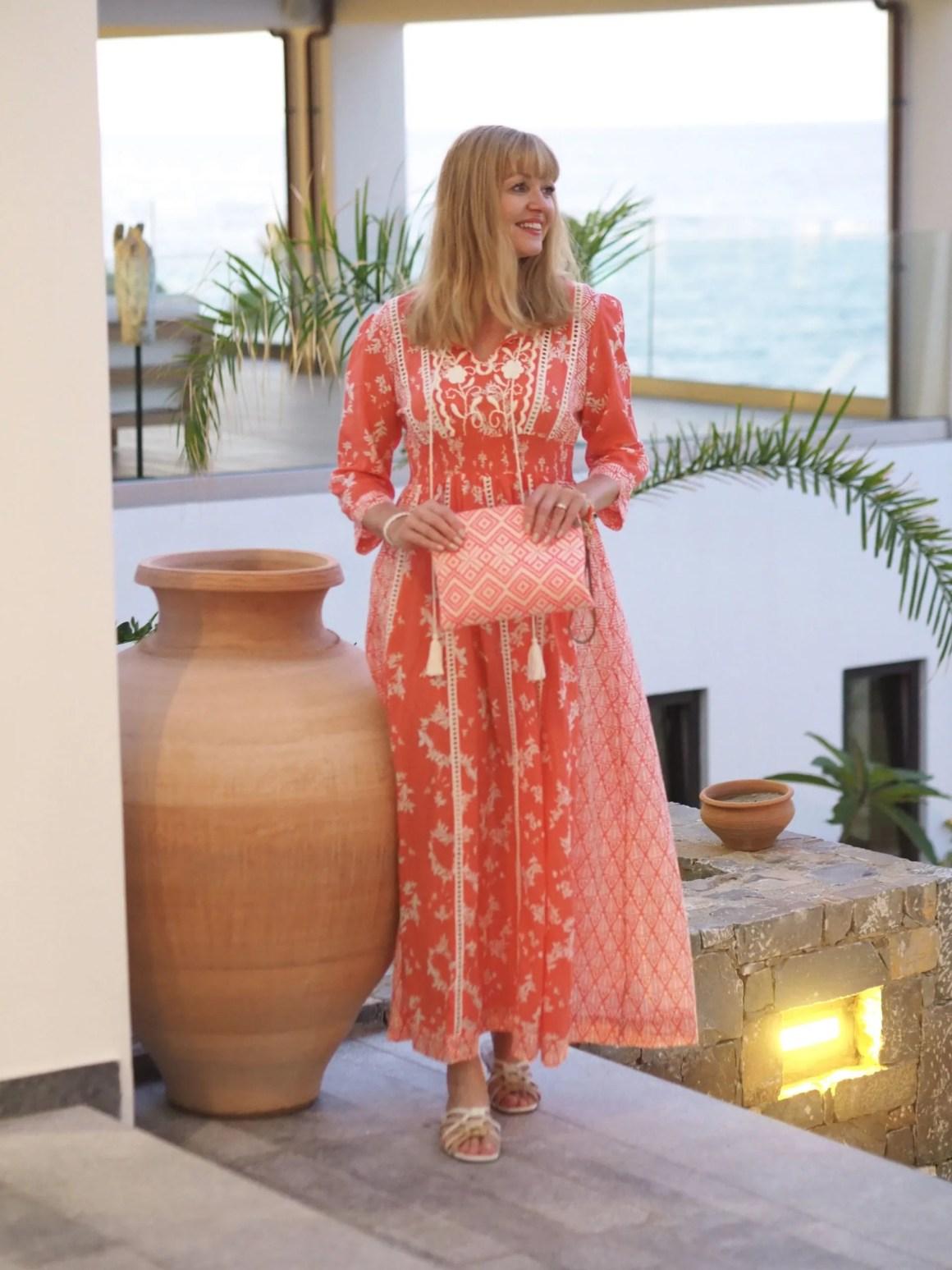 orange and white printed maxi dress
