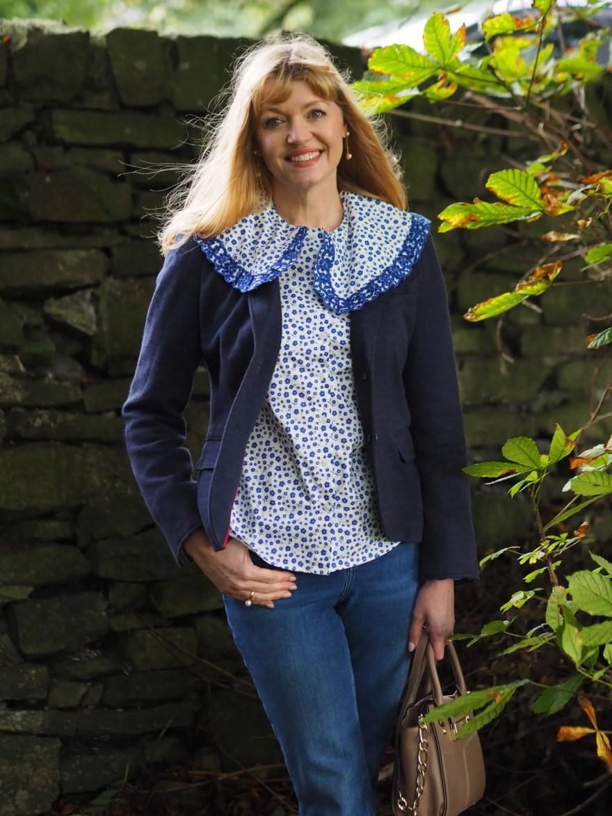 Boden statement collar shirt with tweed jacket