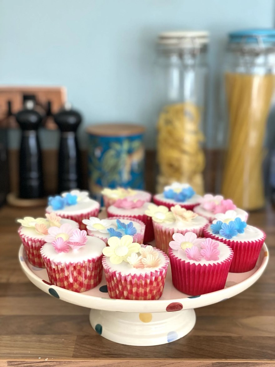 cupcakes decorated with edible rice paper flowers