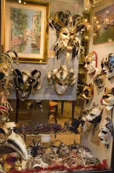 We passed shops with glamorous masks...