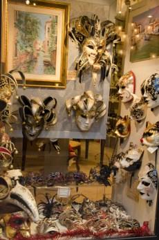 We passed shops with glamorous masks...