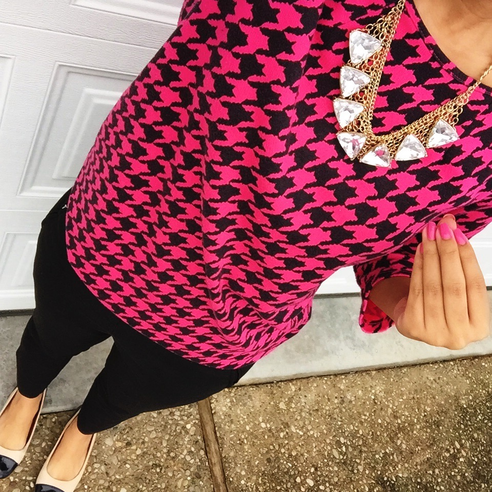 H&M pink houndstooth dress worn as blouse + NY & Co pants + Charming Charlie necklace